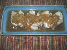 蒸し鶏のネギ醤油
