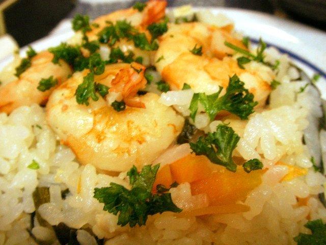 鶏ガラスープからの海老飯
