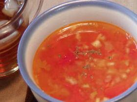 セロリの葉とトマトの簡単スープ