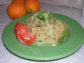 水菜とひき肉のペペロンチーノ