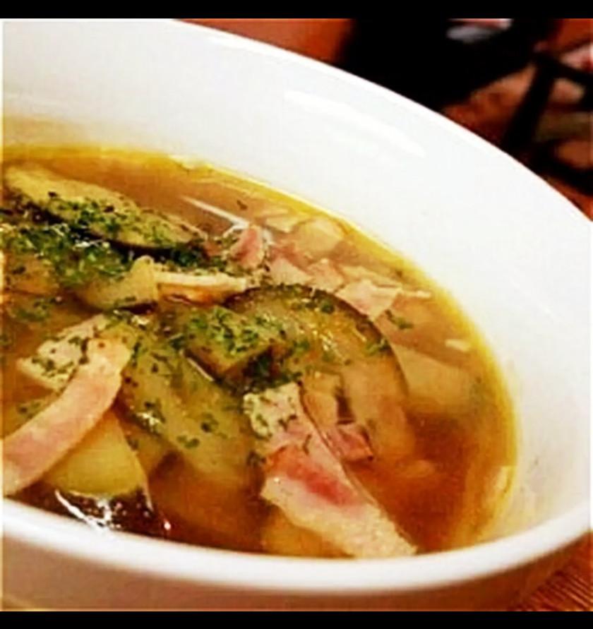 ナスとベーコンのとろりんスープ