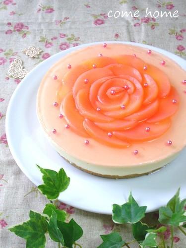 桃のお花のレアチーズケーキ