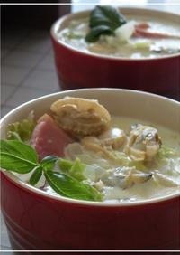 ほっこりあったか白菜とあさりの豆乳スープ