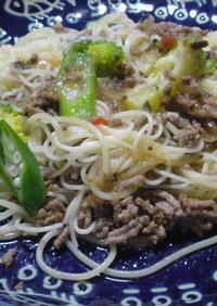 挽肉と夏野菜のカッペリーニ
