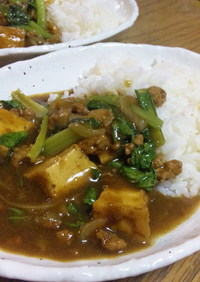 我が家の定番!小松菜と揚げ豆腐のカレー