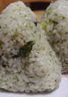 野沢菜と海苔の佃煮のおにぎり