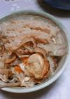 めんつゆでホタテの炊き込みご飯