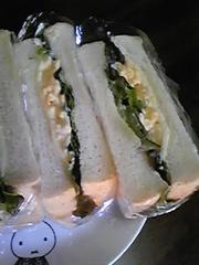 甘いたまごでサンドイッチの写真