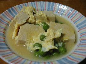 豆と高野豆腐の卵とじ!