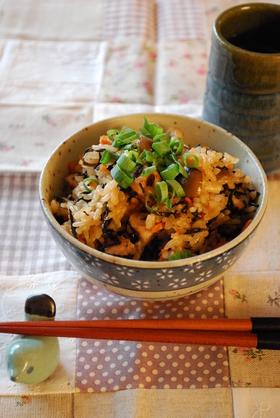 豆鼓とひじきの中華風炊き込みご飯