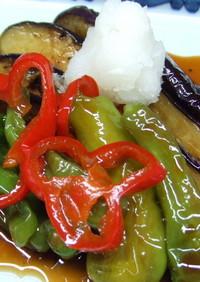 茄子としし唐の和風バルサミコマリネ
