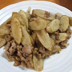 ゴボウと豚肉の甘辛炒め