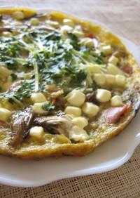 舞茸とソーセージのチーズオムレツ