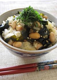 わかめと大豆の混ぜご飯