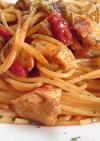 鶏肉とキノコのトマトソーススパゲッティ