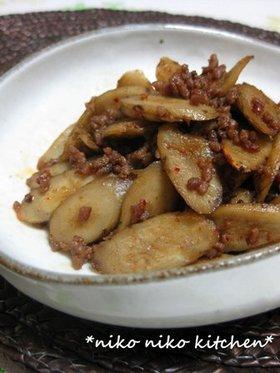 私流♡牛蒡と挽肉のピリ辛炒り煮