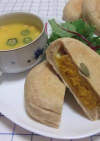 南瓜とチーズの平焼きパン