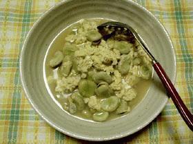 そら豆とアサリの卵とじ