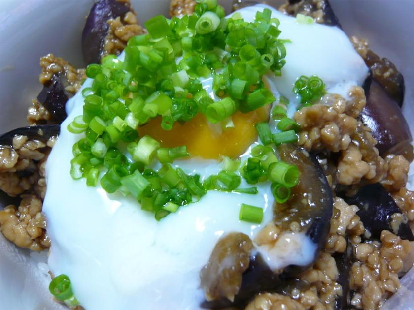 鶏ひき肉となすの甘辛☆温たま丼