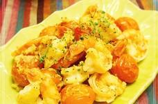 海老とプチトマトの*ガーリック炒め