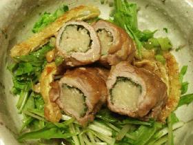 豚肉のえのきシソロールで旨み濃縮@水菜のはりはりサラダ