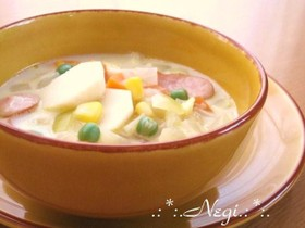 ∮里芋とコーン♡具だくさんの豆乳スープ∮