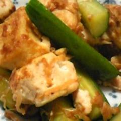 簡単♪きゅうりと豆腐のサッと炒め