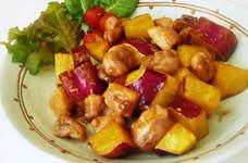 簡単☆さつま芋と鶏肉のハニーレモン