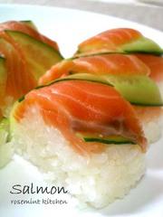 とろける漬けサーモンde絶品押し寿司の写真