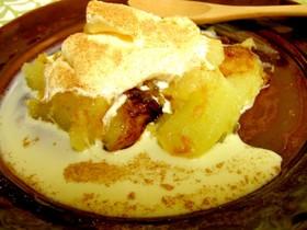 中火10分★焼きりんごのバニラアイス添え