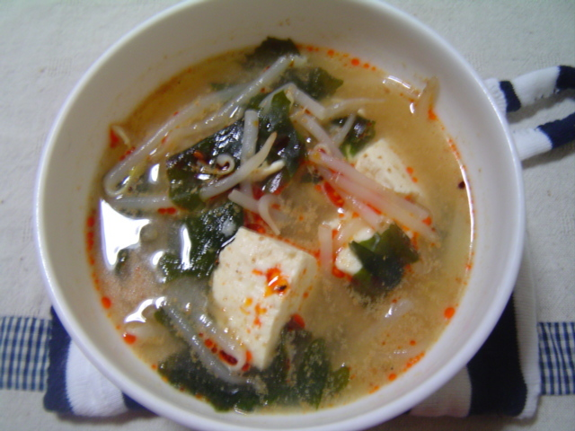 鶏の茹で汁で☆ミソスープ