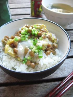 簡単朝ごはん☆ふんわり玉子の納豆ご飯