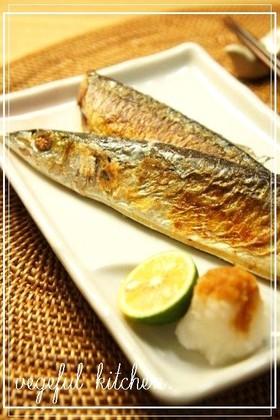 フライパンde秋刀魚の塩焼き