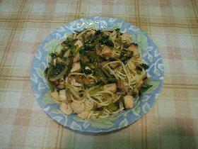 かじきまぐろと小松菜のスパゲティー