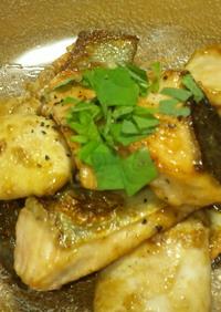 鮭白子と鮭のバターポン酢焼き♪