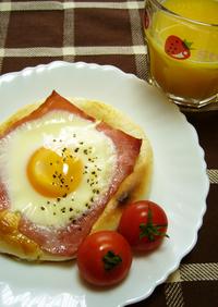 簡単!朝ごはん★ベーコンエッグパン♪