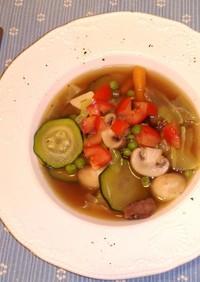 残りものでコンソメ野菜ガーリックスープ