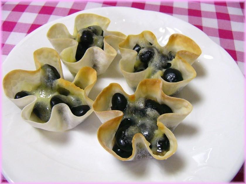 餃子の皮で黒豆チーズ☆彡