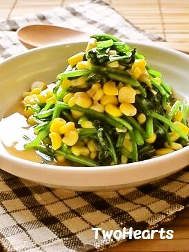お弁当に❤甘~いほうれん草とコーン炒め
