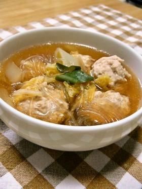 やわらか肉だんごと春雨で和風スープ☆