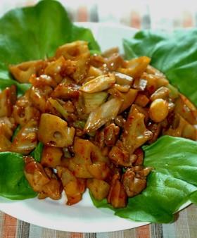 蓮根と鶏のピリ辛炒め