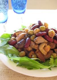 豚と茸とお豆のサラダ