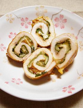 簡単1品★鶏ささみの梅しそチーズ巻き!