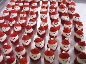クリスマスケーキに☆いちごサンタ