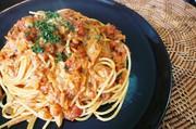 鯖味噌缶で♡味噌トマトクリームパスタ♪の写真