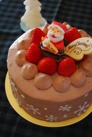 チョコづくしのクリスマスケーキの写真