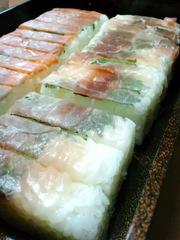 生ハムの押し寿司の写真