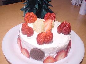 ふんわり苺クリームのクリスマスケーキ
