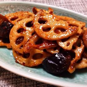れんこんと椎茸の甘辛酢炒め