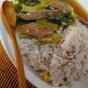 牛肉と小松菜のあんかけごはん。